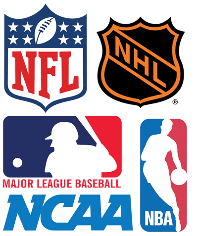MLB, NFL, NBA, NHL, NCAA